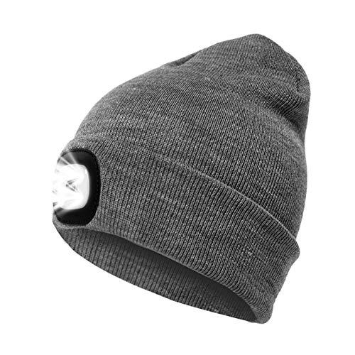 LED Beanie Mütze mit Licht, Unisex USB wiederaufladbare Hände frei 4 LED Scheinwerfer Hut, einstellbare Helligkeit Taschenlampe für Männer, warme Winter Strick beleuchtete Kappe für Camping -Grau