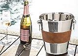 Champagner Kühler, Sektschale Sektkühler Weinkühler Edelstahl, Sektkübel mit Griffen und Lederummantelung, Champagnerschale, Getränkekühler, Eiswürfelbehälter Eiskübel Eiseimer Ice Bucket