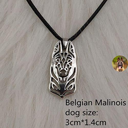 XCWXM Kette Damen Hund Tier Anhänger Seil Halskette Antik Retro Silber Husky Pudel Schmuck Für Frauen Männlich Weiblich Damen Punk Süß Belgische Malinois
