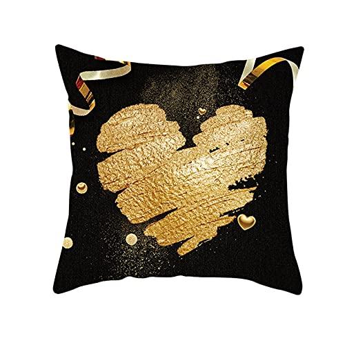 Daesar Cojines Decorativos para Sofa,Fundas de Cojines Sin Relleno,Patrón de Corazón Fundas de Cojín Cuadradas de Lino Decorativas 45 x 45 cm Negro Oro
