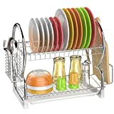 Dish Drying Rack, BuyAgain 2 Tier Stainless Steel Dish Rack with Utensil Holder
