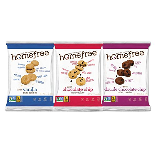 Homefree 01305 Gluten Free Mini Cookies Variety Pack, 1.1 oz/0.95 oz/1.1 oz Packs, 30/Carton