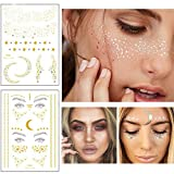 Xinlie 2 Stück Tätowierungsaufkleber Metallic Flash Tattoos Face Tattoo Face Sticker Gesicht Aufkleber for Holiday Girls and Young Women...