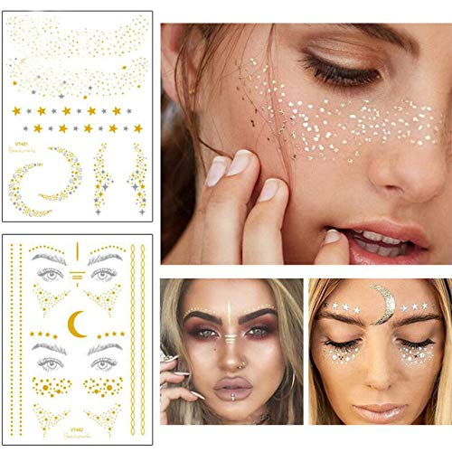 Xinlie 2 Stück Tätowierungsaufkleber Metallic Flash Tattoos Face Tattoo Face Sticker Gesicht Aufkleber for Holiday Girls and Young Women für Augen Gesicht Party Festival Shows Gold (2 Stück)