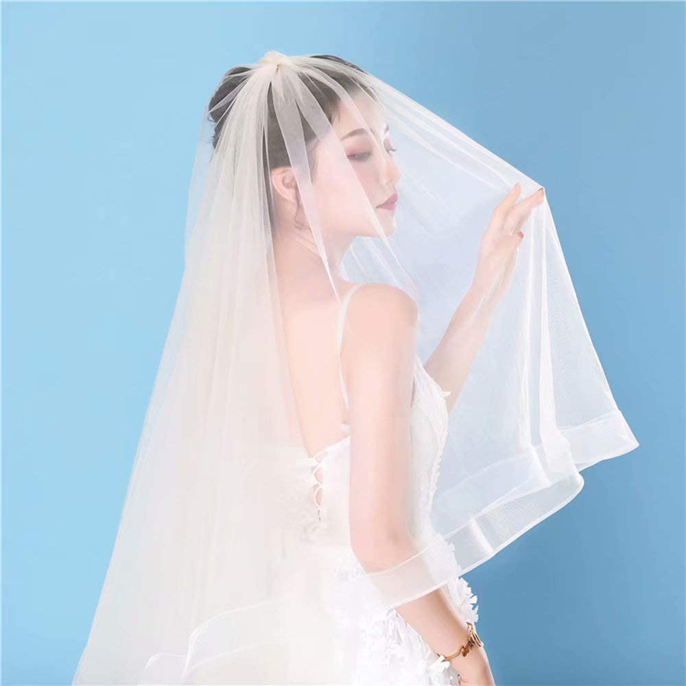 WEIFAN White Bridal Veil - a Short and Simple Style Veil 60-80cm Double - take a Picture Headdress