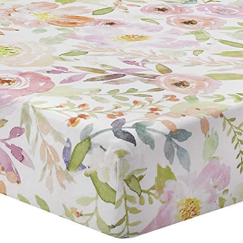 Liz and Roo Blush Watercolor Floral Crib Sheet