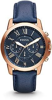 Fossil FS4835 Grant reloj de muñeca de cuero cronógrafo, en tonos azul y oro rosa, para hombre