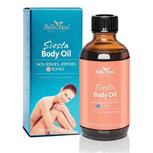 OLIO PER IL CORPO SIESTA BODY OIL BELLE AZUL - Olio per il corpo nutriente e rassodante - Naturale - Con olio di argan biologico certificato da ECOCERT - Vegan / 100 ml.