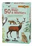 Moses 9739 Expedition Natur - 50 heimische Wald und Wildtiere | Bestimmungskarten im Set | Mit spannenden Quizfragen