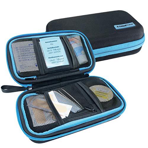 PILLBASE Travel Botiquín de viaje para tabletas, almacenamiento de viaje, organizador de píldoras portátil y móvil, bolsa de primeros auxilios, medicina, vitaminas Pillen, kit de emergenc