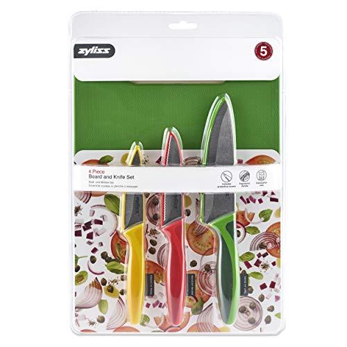 Zyliss E910047 Küchenmesser Set mit 3 bunten Küchenmessern mit ergonomischem und rutschfestem Griff (Office, Wellenschliff, Allgebrauch) und 1 Schneidebrett, Edelstahl