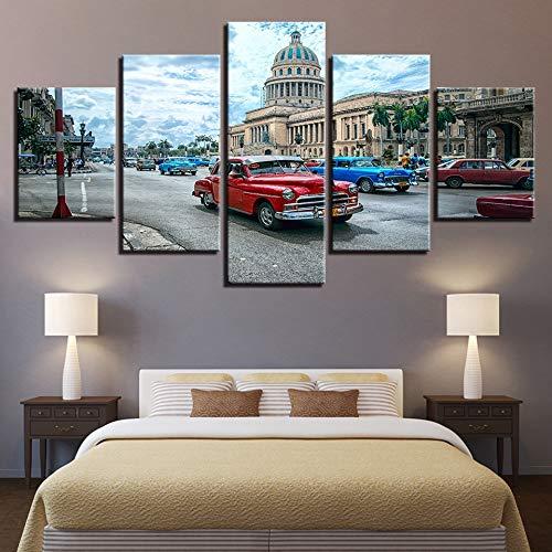 Arte de la Pared La Habana Cuba Coche Ciudad Pinturas Lienzo Cuadros Decoración para el hogar Marco 5 Piezas HD Prints Paisaje Posters-Sin Marco