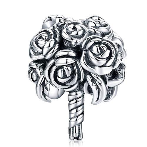 ZiFouDou Ciondolo per Braccialetti Pandora&Chamilia E Collane,Bead Charm in Argento Sterling 925- Bouquet da Sposa