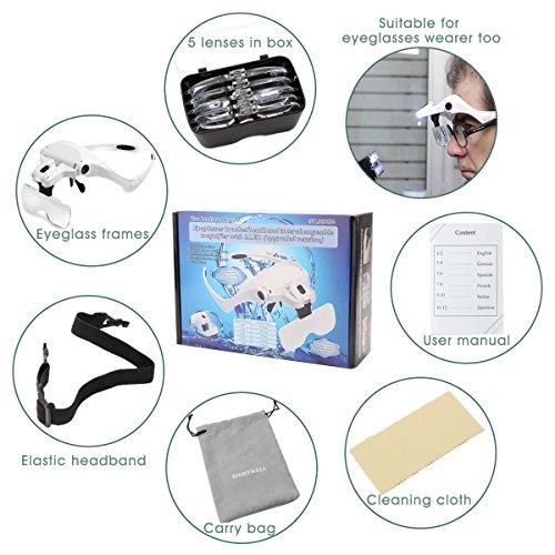 Rightwell Lupenbrille Led Licht Hände Frei Kopfband Lupen Lampe Stirnband Brille Lupen Verstellbare für Hobby,Denest,Elektriker,Juweliere,Nähen,Handwerk,Kosmetik und ältere Menschen-2er LEDs,1.0X, 1.5X, 2.0X, 2.5X, 3.5X - 9