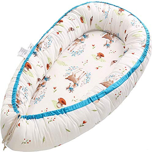 Miracle Baby Cama Nido Bebe,Nido Bebé Portátil, Cuna Nidos Ajustable, Reductor de Cuna Nidos,Multifuncional Cuna Cama de Viaje para Bebe Dormir,Alce(88x53x15cm)