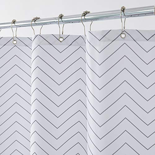 Aimjerry White Striped Fabric Shower Curtain for Bathroom,...