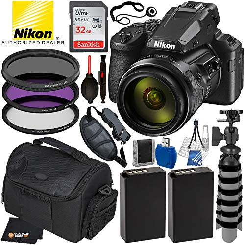 Nikon COOLPIX P950 83x Optical Zoom Digital Camera (USA 26532) with 14PC Accessory Bundle Package – Includes: SanDisk Ultra 32GB SDHC Memory Card + 2X Extended Life Batteries + Flexible Tripod + More