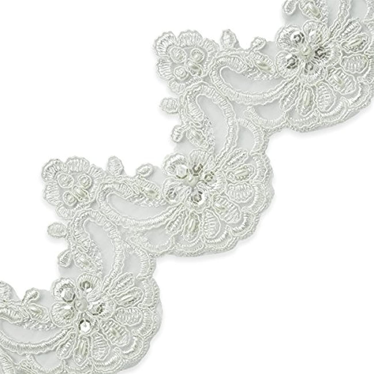 Expo International IR7071IV-14 14 Yds of Noreen Embr. Lace Trim w/Pearls & Sequin Ivory
