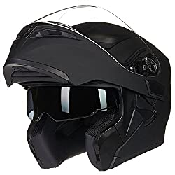 top rated ILM Motorcycle Double Visor Folding Modular Full Face Helmet DOT 6 Colors (XL, Matte Black) 2021