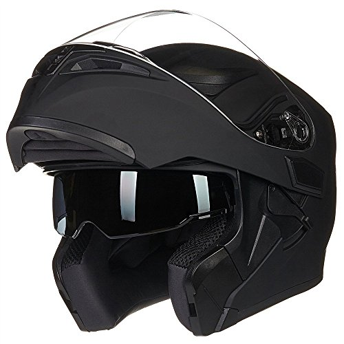 ILM Motorcycle Dual Visor Flip up Modular Full Face Helmet DOT 6 Colors (XL, Matte Black)