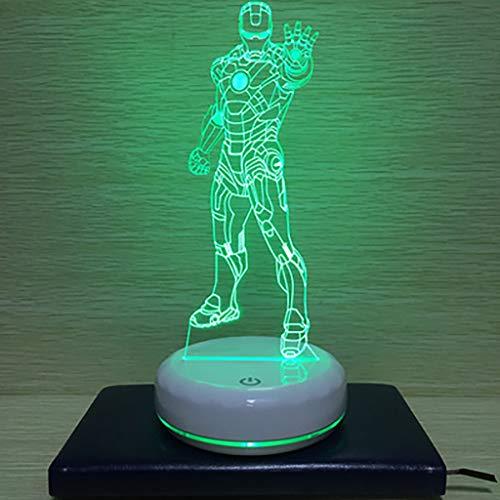 North cool Création Autrichienne Ère Manway 3D Iron Man Nuit Lampe Lampe LED Lampe USB Lampe De Chevet Lampe De Chevet Lampe De Chambre Cadeau D'anniversaire (Couleur : Vert)