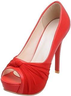 65db0f089c3 RAZAMAZA Mujer Moda Plataforma Peep Toe Sin Cordones Court Zapatos Fiesta Tacon  Alto Sandalias