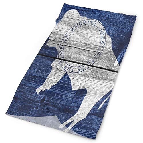 GUUi Headwear hoofdband head scarf wrap sweatband,Geority State Flag met Buffalo geverfd op Old Wooden Plank print, sport headscharnieren voor mannen vrouwen