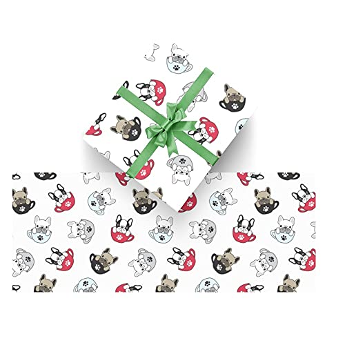 Dog French Bulldog Pug Wrapping Paper Bundle 3 Rolls High Gloss & Metallic Prints for Christmas Birthday Weddings Valentines Graduation Father's Day Baby Shower Bridal Shower