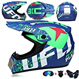 JCLDG Moto Kids Pro Kinder Crosshelm Motorrad Helm Motocross Helme Handschuhe Maske Brille (Set von 4) BMX MX Quad ATV Enduro Motorradhelm Kinderhelm Sport Sicherheit,Grün,S