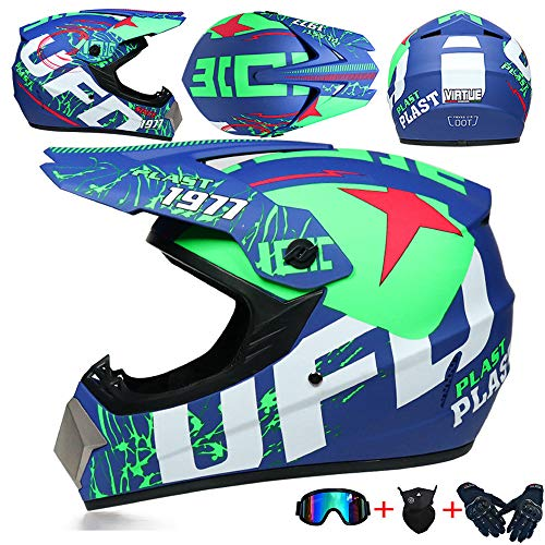 JCLDG Moto Kids Pro Kinder Crosshelm Motorrad Helm Motocross Helme Handschuhe Maske Brille (Set von 4) BMX MX Quad ATV Enduro Motorradhelm Kinderhelm Sport Sicherheit,Grün,M
