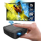 ミニ プロジェクター 小型 DLP投影方式 LED光源 WiFi 3300 ルーメン 1080PフルHD対応 1280*720解像度 自動台形補正 iPhone/パソコン/スマホ/タブレット/ゲーム機/DVDプレイヤーなど接続可能 USB/HDMI/AUDIOサポート 充電式バッテリー内蔵 日本語取説