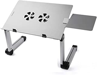 Adjustable Laptop Stand, Portable Laptop Table Stand with 2 CPU Cooling Fans, Ergonomic Lap Desk TV Bed Tray Standing Desk