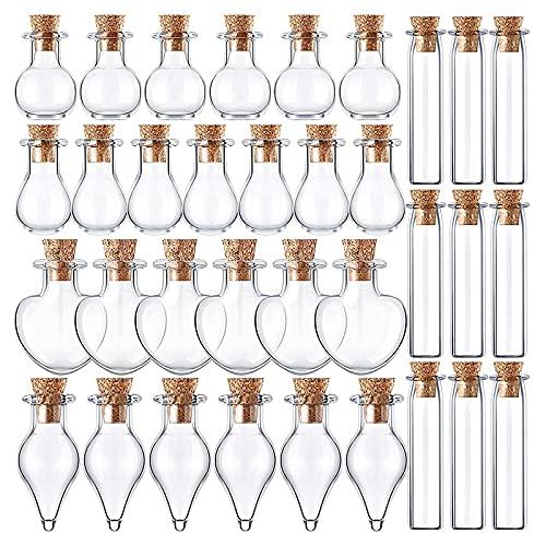 OVBBESS 50 tarros de cristal pequeños con tapones de corcho de 5 formas, pequeños deseos, para manualidades y proyectos de bricolaje