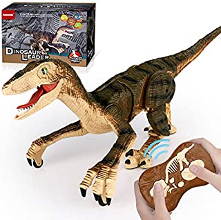 Smmoma 6 Channels 2.4G Remote Control Dinosaur for Kids Boys Girls, Electronic RC Toys Educational Walking Velociraptor wi...