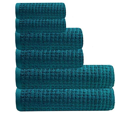 GLAMBURG Juego de Toallas de 6 Piezas de algodón orgánico Puro 100% - Algodón orgánico OEKOTEX - Certificado Gots - Calidad de Hotel y SPA Ultra Absorbente y ecológico - Verde Azulado