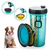 Beinhome Hunde Wasserflasche mit 2 Faltschüsseln, Futterbehälter 2 in 1 für die Wassernahrung von...