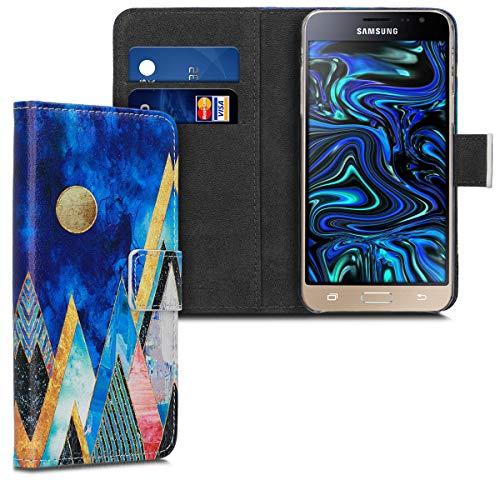 kwmobile Funda para Samsung Galaxy J3 (2016) DUOS - Carcasa de Cuero sintético con diseño de montañas y Formas - Case con Tarjetero