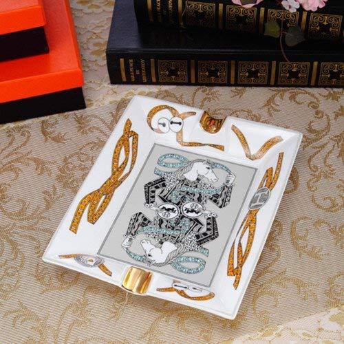 Cenicero Kewei, clásico de porcelana de hueso, ideal como regalo personalizado para decoración del hogar, porcelana europea, cenicero de mosaico, color: 4 secciones pequeñas. Poker