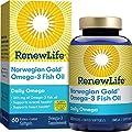 Renew Life Norwegian Gold Adult Fish Oil - Daily Omega, Fish Oil Omega-3 Supplement - Gluten & Dairy Free - 60 Burp-Free Softgel Capsules