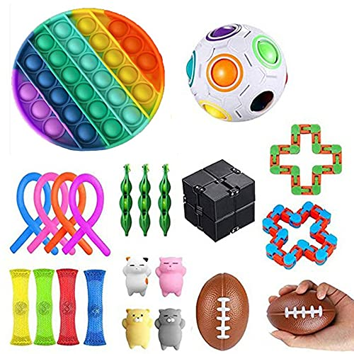 KUNSTIFY Fidget Toy Set Box mit Pop It Quadrat gelb, Squishy, Fidget Cube, Regenbogen Puzzle Ball UVM. Antistress Fidget Toys Antistress Spielzeug Figet Toys Tik Tok (Toy Set 4