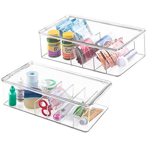 mDesign Juego de 2 Cajas organizadoras con 5 divisiones Cada una – Cajas de plástico con Tapa apilables para medicamentos y vitaminas – Recipientes de plástico sin BPA para botiquín – Transparente