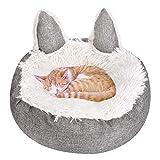 Queta Cama para gatos y perros, redonda, de felpa suave, cama para perros, bonita cama para gatos en...