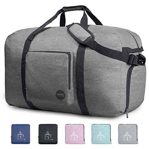 36' Foldable Duffle Bag 120L for Travel Gym Sports Packable Lightweight Luggage Duffel Water-resistant By WANDF (Light Grey, 36 inches (120 Liter))