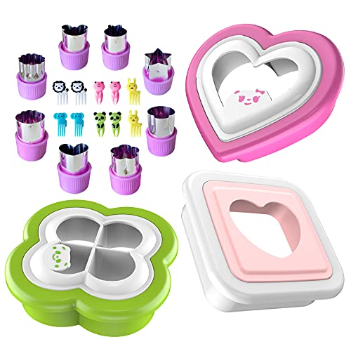 Sandwich Cutter and Sealer. 21 Piece Set,Sandwich Decruster for Kids - Remove Bread Crust,Fun Sandwich Maker Shapes.Includes Fruit and Vegetable Cutters Food Picks,Food Grade Mold -Easy to Use.