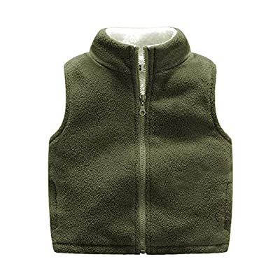 Ohrwurm Little Boy's 5T Vest, Solid Color Zipper Sleeveless Pocket Sweater Vest Fleece Outfit Jacket, Olive Green, 6-7 Years