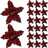 20 Piezas Flores de Pascua a Cuadro de Búfalo de Navidad Palillos de Flor Artificial de Navidad Ramo Falso de Poinsettia Decoración para Árbol de Navidad con Bayas (Cuadro Negro-Rojo)