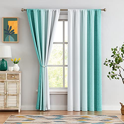 """Ombre Full Blackout Curtains 84 Inches Long, Teal and White 2 Tone Reversible Rod Pocket Window Treatments for Bedroom Living Room, Linen Gradient Print Drapes 52"""" W 2 Panel Sets"""