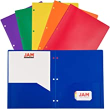 JAM PAPER Plastic 2 Pocket School POP Folders with 3 Hole Punch - Assorted Primary Colors - 6/Pack