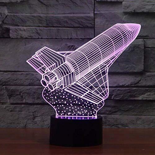 Rocket 3D Acrílico LED Luz de noche Varios colores Lámpara de mesa Decoración Luz de regalo