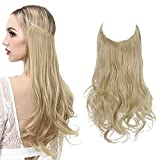 the halo hair extension with wire,lighter and more comfortable without clips ,and really easier to apply and remove without any extra help in a few minutes. Material:100% Synthetic Japan High Temperature Fiber(Heat Resistance: 300℉-350℉ or 150-180℃ )...